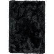 Plush Black Luxury Shaggy Polyester Rug by Asiatic