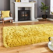 Think Rugs Polar PL95 Yellow Thick Shaggy Rug