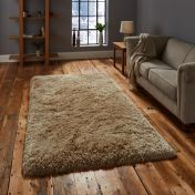 Think Rugs Polar PL95 Beige Thick Shaggy Rug
