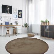 Rabbit 100 Anthracite Circle Rug by Unique Rugs