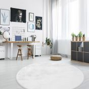 Rabbit 100 White Circle Rug by Unique Rugs