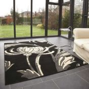 Element Prime Loretta Grey Black Floral Rug by Flair Rugs