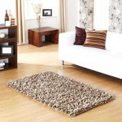 Rocky Taupe Designer Plain Shaggy Wool Rug by Prestige