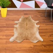Rodeo Cowhide Solid Beige Abstract Rug By Asiatic