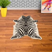 Rodeo Cowhide Zebra White/Black Abstract Rug By Asiatic