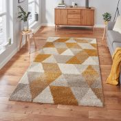 Royal Nomadic 7611 Beige Ochre Shaggy Rug by Think Rugs