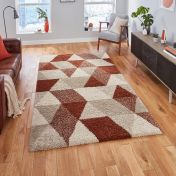 Royal Nomadic 7611 Beige Rust Shaggy Rug by Think Rugs