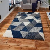 Royal Nomadic 7611 Grey Navy Shaggy Rug by Think Rugs
