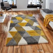 Royal Nomadic 7611 Grey Yellow Shaggy Rug by Think Rugs