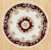 Royal Jewel JEW04 Cream Red Circle Traditional Rug By Oriental Weavers