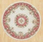 Royal Jewel JEW02 Cream Rose Circle Traditional Rug By Oriental Weavers