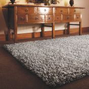 Imperial Dove Grey Shaggy Wool Rug by Rug Guru