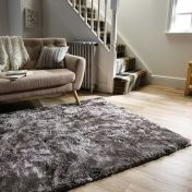 Serenity Silver Plain Shaggy Rug by Flair Rugs