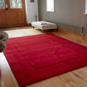 Sierra Apollo Red Plain Wool Rug By Flair Rugs