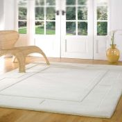 Sierra Apollo Ivory Plain Wool Rug By Flair Rugs