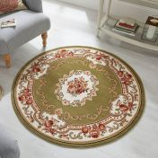 Sincerity Royale Dynasty Green Traditional Circle Rug by Flair Rugs
