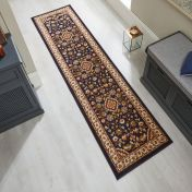 Sincerity Royale Sherborne Dark Blue Traditional Runner by Flair Rugs