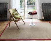 Sisal Linen/Red Natural Decorative Runner by Asiatic