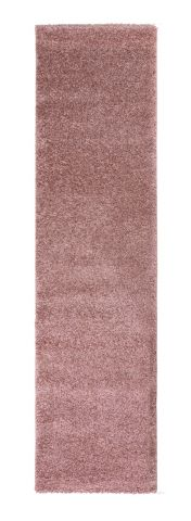 Sleek Blush Pink Plain Shaggy Runner by Flair Rugs