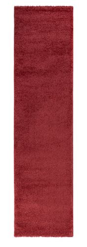 Sleek Brick Red Plain Shaggy Runner by Flair Rugs
