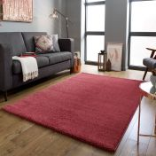 Sleek Brick Red Plain Shaggy Rug by Flair Rugs