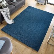 Sleek Denim Blue Plain Shaggy Rug by Flair Rugs