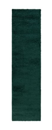 Sleek Forest Green Plain Shaggy Runner by Flair Rugs