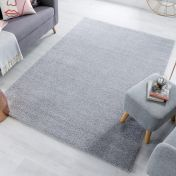 Sleek Grey Plain Shaggy Rug by Flair Rugs