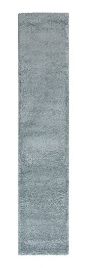 Sleek Powder Blue Plain Shaggy Runner by Flair Rugs