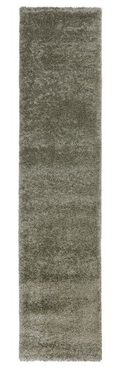 Sleek Sage Green Plain Shaggy Runner by Flair Rugs