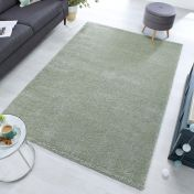 Sleek Sage Green Plain Shaggy Rug by Flair Rugs