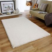 Softness Cream Plain Shaggy Rug by Oriental Weavers