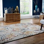 Soho Sirius Grey Multi Floral Luxmi Wool Rug by Flair Rugs