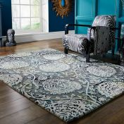 Soho Vega Grey Multi Floral Luxmi Wool Rug by Flair Rugs