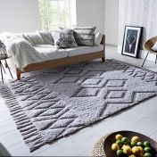 Solitaire Daria Grey Geometric Luxmi Rug by Flair Rugs
