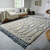 Solitaire Sion Natural Duck Egg Geometric Luxmi Rug by Flair Rugs