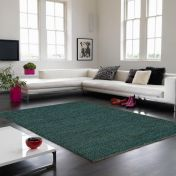 Soumak Jute Teal Plain Rug By Asiatic