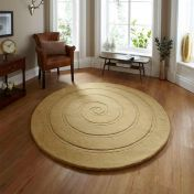 Spiral Gold Wool Circle Rug By Think Rugs