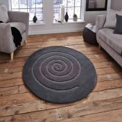 Spiral Grey Wool Circle Rug by Think Rugs