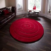 Spiral Red Wool Circle Rug By Think Rugs