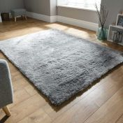 Splendour Shadow Silver Plain Shaggy Rug By Flair Rugs