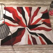 Infinite Splinter Red Abstract Rug By Flair Rugs