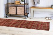 Tartan Brown Chequered Runner by Ultimate Rug