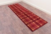 Tartan Red Chequered Runner by Ultimate Rug