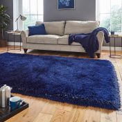 Think Rugs Montana Dark Navy Plain Shaggy Rug