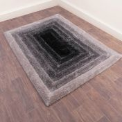 Time Gate Grey 3D Shaggy Rug by Ultimate Rug