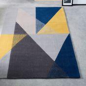 Trio Blue Ochre Geometric Rug by Origins