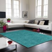 Tula Blue Soft Plain Polyester Rug by Asiatic