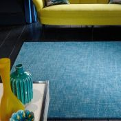 Tweed Teal Plain Wool Rug By Asiatic