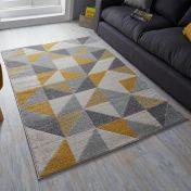 Urban Triangle Ochre Grey Rug by Flair Rugs